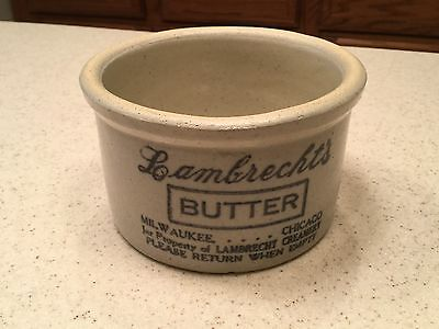 "Lambrecht Vintage   Stoneware Crock Butter Dairy  2 3/4"" tall Very Nice"