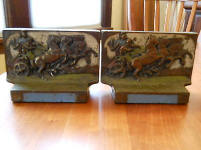 Antique Pompeian Bronze Spartacus Chariots Bookends Rare Matching Pair Great!!