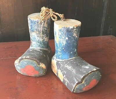 Antique 19th cent Japanese Puppet boots, painted wood.