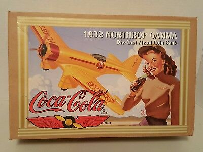 Coca-Cola 1932 Northrop gamma die cast metal coin bank