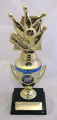 Tenpin Pins,Shoe  & Bowl Trophy on Gold Cup 205mm with Current Yr  Engraved FREE