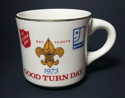 Boy Scout Mug 1973 Good Turn Daily w/ Salvation Army and Goodwill Logos BSA