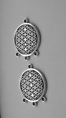 2 or 5pcs Flower of Life Connector Pendant Charms, 37x29mm, Tibetan Silver