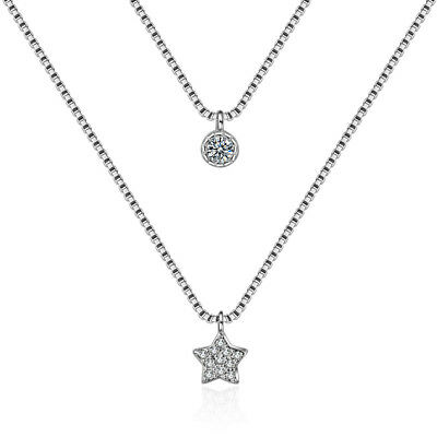 Crystal Star Double Chain Design 925 Silver Necklace For Women Wedding Gift