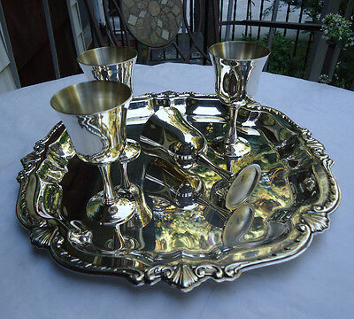 Vintage WM A ROGERS Small Ornate Tray with SALEM Cordial Goblets Set (4) Elegant