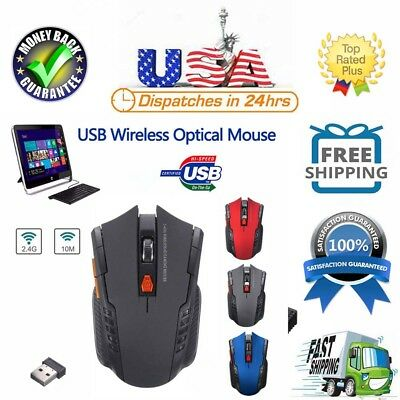 2.4 GHz Wireless Optical Gaming Mouse Mice & USB Receiver For PC Laptop