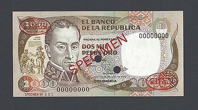 Colombia 2000 Pesos 24-7-1983 P430as Specimen N001 TDLR Uncirculated