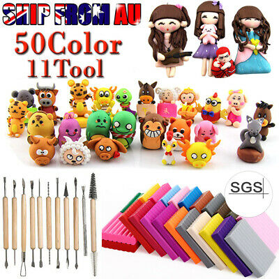 50 Colors Kids Fimo Modelling Clay Block Polymer Bake Moulds Molds Tools Kit AU
