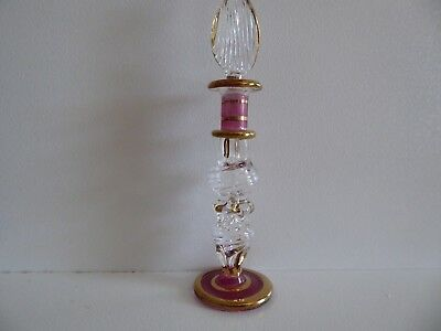 Egyptian Perfume Oil Bottle, Clear/Pink/Gold, 12.5cm tall incl. Stopper, New
