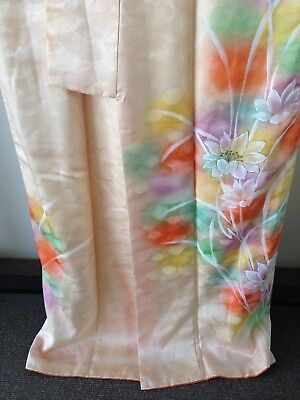 Vintage Authentic Japanese Floral hand painted Kimono Robe One of a Kind
