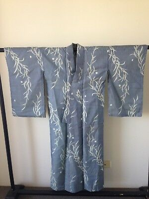 Blue and Silver Silk Kimono Vintage Authentic Japanese Robe One of a Kind