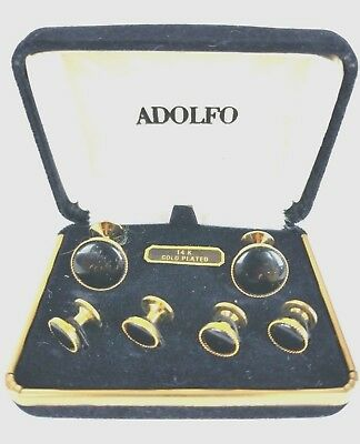 ADOLFO 14KT Gold Plated Black Onyx Cuff Links and Studs