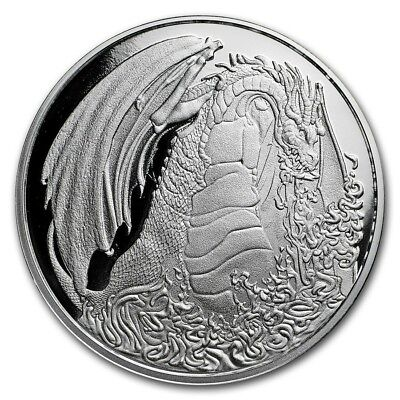 1 oz silver proof fire dragon. Asia. 2018 .999 pure fine silver! COA! Limited!