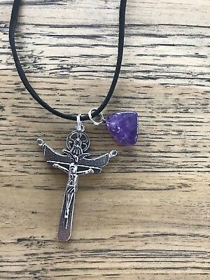 Amethyst natural stone with Crucifixion Resurrection suede necklace