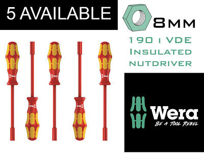 Wera Insulated Nut Driver 8mm x 125mm Secure @ 1000V Germany, 5 available