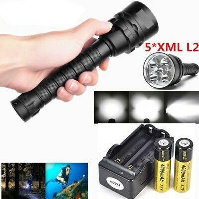 5x XM-L L2 LED 50000LM Scuba Tauchlampen 2x 18650 Flashlight Fackel bis 200m