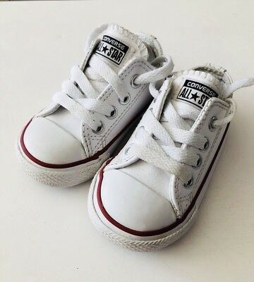38e7d5e051a61b Infant White Leather Converse Size 5 Baby Toddler Child Trainers Pram Crib  Shoes