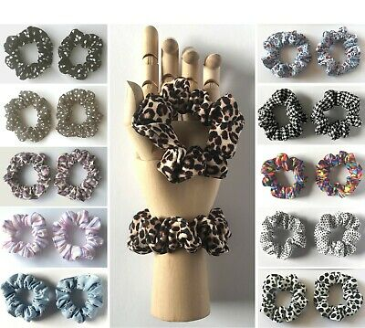 2 x SMALL SCRUNCHIES / Prints - (Child / Thin Hair) - Choose From Selection