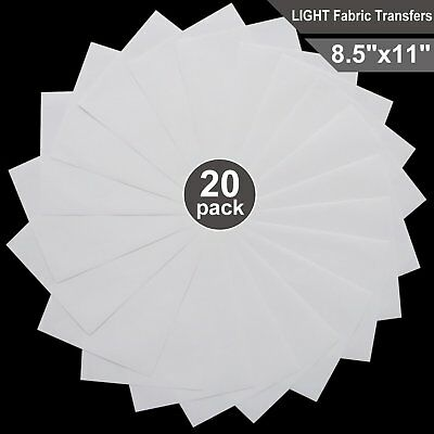 """T-shirt Transfers for Inkjet Printers for light-colored, 8.5"""" x 11"""", 20 Sheets"""