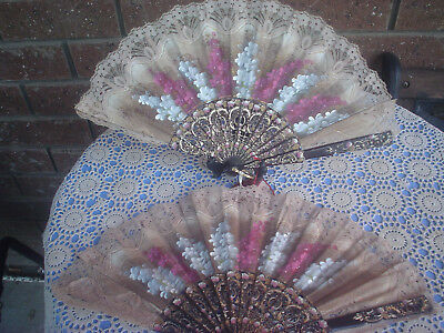 2 Vintage Giner Spain Fans Hand painted and Victorian Floral Design