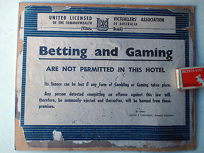 """Hotel Sign : NO BETTING OR GAMING"""" Or you will be Banned"""""""