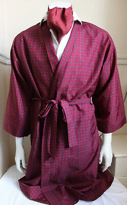 vintage St Michael red paisley silky dressing gown smoking jacket 60s mens M