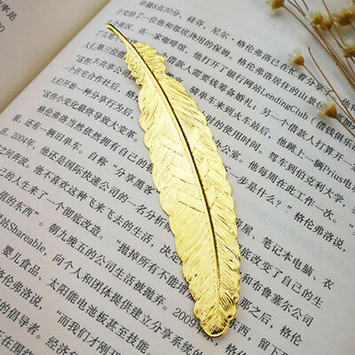 2X(6pcs Different Color Vintage Feather Metal Bookmarks Book Marker for Schoo)AN