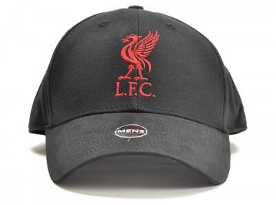 Liverpool LFC Football Baseball Cap Hat Mens Plain Black 3D Badge Official
