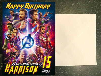Avengers Birthday card Infinity War **Personalised Card** Any Name/Age/Relation