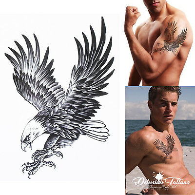 Eagle Temporary Tattoo - Black, Bald Eagle, Mens, Womens, Kids, Realistic, Fake