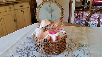 Antique Sewing Basket- Woven Hexagon Shape Wicker-Filled With Antique Goodies!