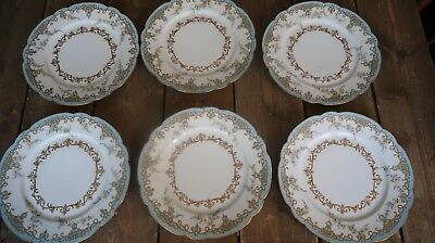 Gorgeous Hand Painted ANTIQUE Burley & Co Chicago Blue Plates Set of 6