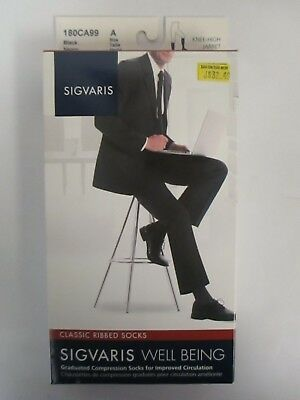 Sigvaris Well Being Classic Ribbed Socks Size A Black - Rc 6269