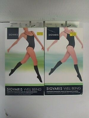2 Pair Sigvaris Well Being Knee-High Cushioned Cotton Socks Size A White Rc 6268