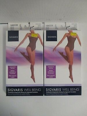 2 Pair Sigvaris Well Being Knee-High Sheer Fashion Hosiery Size C Natrl Rc 6264