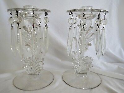 ANTIQUE CRYSTAL CHANDELIER CANDLE HOLDERS VINTAGE CHARM 8inch by 4.25inch BASE
