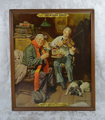 Vintage Mid C 1938 The Wilken Family Whiskey Advertising Hy-Glo Framed Ad