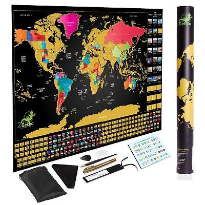 Deluxe Large Scratch Off World Map Personalized Travel  FEATURES BUCKET LIST