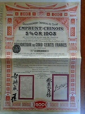 Chine / Emprunts 5% Or 1903 / Obligation 500 Frs : Pas De Coupons / Bruxell 1905