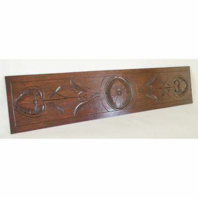 Antique French Carved Oak Geometric Heart Shapes Architectural Decorative Panel