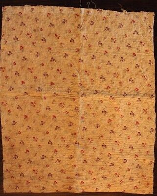 """Antique French18thc Toile de Jouy Block Printed Cotton Fabric-Dolls L35""""xW28"""""""