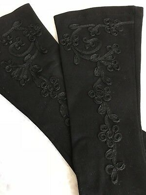 Vintage Long Black Cotton Gloves, Fancy Embroidery, Small (6), Lady Gay, U.s.a.