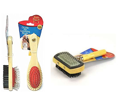 Double Sided Dog Cat Grooming Soft And Wire Brush Or Slicker Pin Brushes Dogs