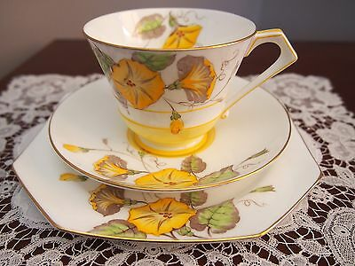 Vintage Art Deco Paragon Trio Yellow Floral