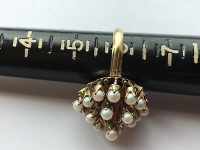 VTG 14K Pyramid Real Yellow GOLD & Ivory Pearl Ring Sz 6 Antique old Jewelry
