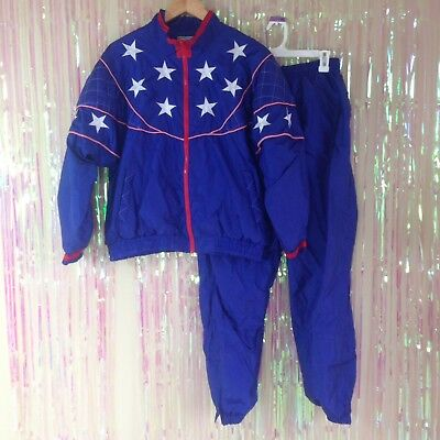 VTG USA Olympic american blue red white windbreaker sweatsuit outfit B16
