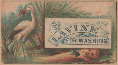 Small Victorian Trade Card-Lavine Soap-Hartford, CT-Stork Eating Frogs