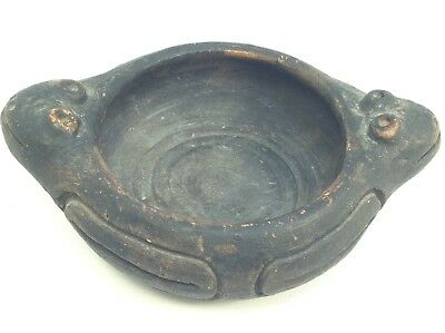 Rare Double Frog Pre Columbian Clay Pottery Vase Vessel Cup Bowl Lizard