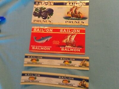 4 1930s General Grocer SAIL-ON product labels.