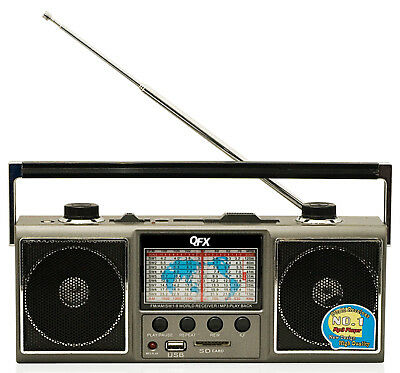 QFX AM/FM/SW Portable Radio Shortwave World Receiver USB/SD Inputs MP3 Player